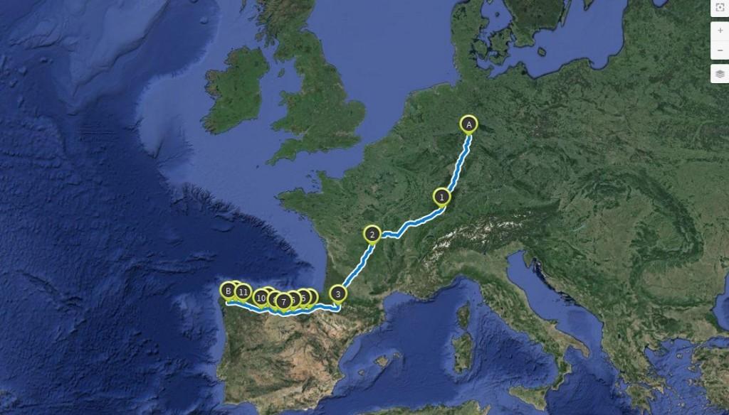 Meine Route nach Spanien mit Google Maps erstellt